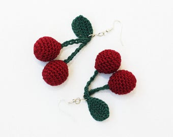 Crochet cherry earrings Summer jewelry trends Burgundy red and dark green Gift for her Boho Hippie style Lovely cute Drop dangle earrings