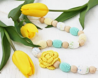 Nursing necklace Yellow and aqua Pastel jewelry with flower Spring baby shower gift for mom to be New mother Chunky crochet beaded jewelry