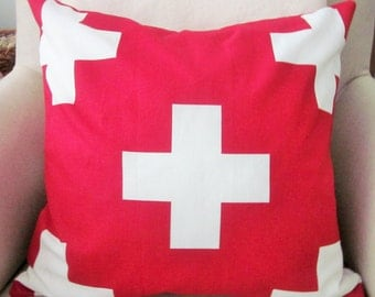 Swiss Cross Pillow Cover, Red with White Crosses, Accent Pillow, Decorative Pillow