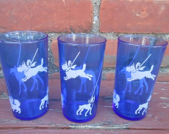 Depression Era Hazel Atlas Cobalt Blue Sportsman Dog Show Ice Bucket And Tumblers