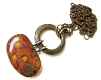 Someone's Gotta Sing the Pain - long primitive industrial brick red mustard Morgan Hill poppy jasper, vintage connector, metalwork pendant