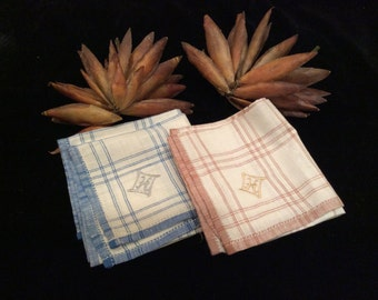 """Men's Vintage Blue and Ivory and Tan and Ivory Plaid  Monogrammed Letter """"H"""" Cotton Handkerchiefs, Monogrammed Men's Hankies"""
