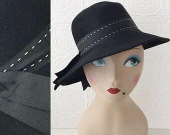 Black Crusher Hat, Boho Festival Sun Hat, Winter Rain Hat, Wide Brim, Ribbon Detail, Size Adult Medium, by Henry Pollak, Vintage 1960's