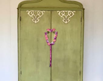 Antique Armoire, Child's Armoire, Home Furnishings, Antique Furniture, Cottage Chic, Refinished Antique armoire