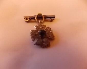 Vintage Silver  Diamond Emerald Paste Star Drop Small  Brooch Pin -  PRETTY