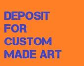 60x 30 inch abstract custom canvas. Deposit