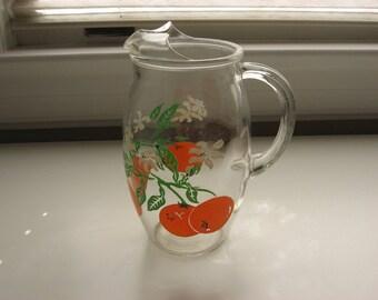 Vintage Mid Century Orange Juice Pitcher//Oranges and Orange Blossoms// Old Florida Souvenir//Vintage Barware//Collectible