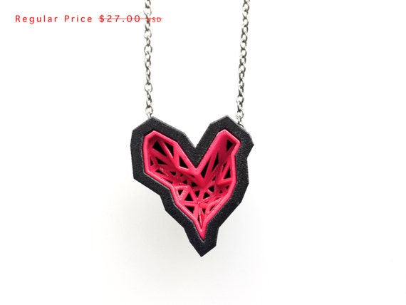 heart geometric necklace - Rock Heart Pendant in Pink Sapphire and Black. 3d printed. modern jewelry. fashion gifts