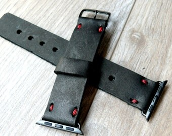 Black Leather Apple Watch band 42mm leather watch band, Apple watch strap, iwatch band, apple watch leather band with red linen
