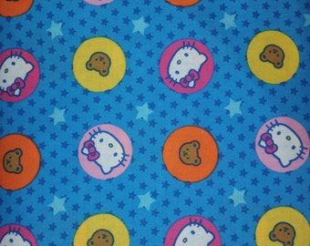 Hello kitty licensed by Sanrio blue backgroundwith, stars, bears, hello kitty in circles rare oop