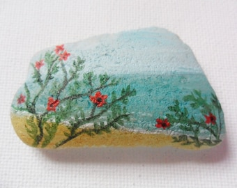 Beach flowers - Original miniature painting on English sea glass