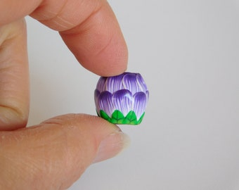 Purple Flower Dread Bead, polymer clay bead with 7 mm bead hole