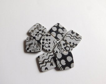 Square Polymer Clay Buttons, 1 inch sewing buttons