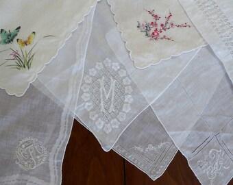 Vintage Handkerchief Lot 7 Hankies Bag Thirteen, 7 Hankies Embroidery Silk Monogram Lace Handkerchiefs
