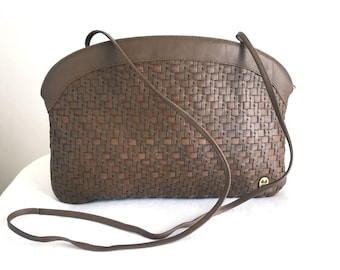 Vintage Etienne Aigner Taupe Woven Leather Handbag Clutch