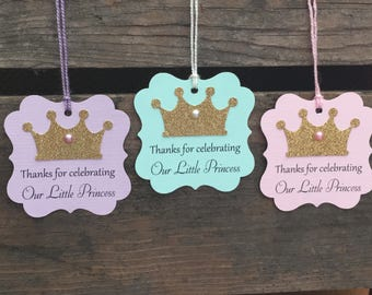 Set of 12 Thanks For Celebrating Our Little Princess - Pink - Purple - Teal - Baby Shower - Birthday - Favor Gift Tags