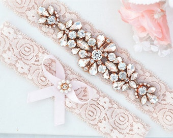 BLUSH PINK Rose Gold Crystal pearl Wedding Garter Set, Stretch Lace Garter, Rhinestone Crystal Bridal Garters