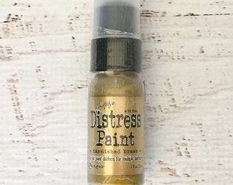 Tim Holtz Distress Paints, Acrylic, w/ sponge dauber, in tarnished brass, for mixed media, scrapbooking, art journaling, paper crafts, cards