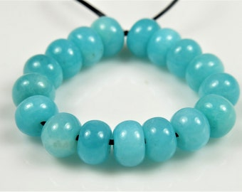 Beautiful ~ Natural Peruvian Vibrant Sky Blue Amazonite Rondelle Bead - 6mm x 4mm - 17 beads - B6092