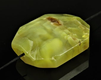 Small Luscious African Yellow Opal Simple Cut Octagonal Freeform Pendant - 30 mm x 26 mm x 10 mm - B6457