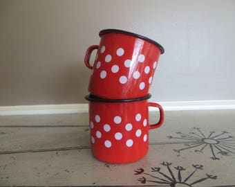 Large Red Polka Dot Enamel Mugs Enamelware Cups Red and White Yugoslavia Enameled Coffee Cups