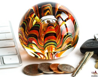 Art Glass Paperweight - Hot Tortoise Colors with Organic Sea Life Pattern and Bubble