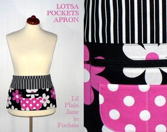 Lil Plain Jane Pocket Zipper Apron for vendors, teachers, gardeners, photographers, servers made to order in 2 sizes, LOTSA POCKETS APRON