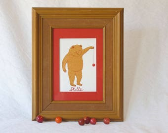 Bear with yoyo, Skills giclee print, in wood frame,practice makes perfect