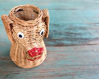 Wicker Dog Head Container, Vintage Wicker Container, Vintage Wicker, Dog Decor, Office Decor, Pencil Holder, Planter