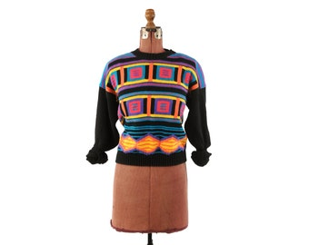 Vintage 1980's Thick + Heavy Black Neon Rainbow Cotton Knit Geometric Abstract Funky Crew Neck Sweater L