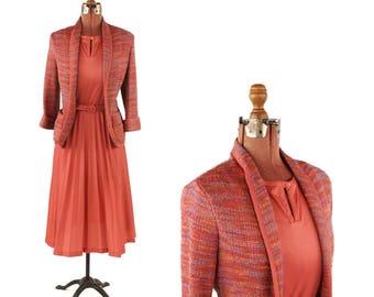 Vintage 1970's Dark Rose Pink Nylon Pleated Day Dress w/ Matching Cardigan Preppy Sweater Dress Set XL