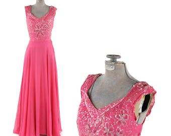 Vintage 1940's Hot Pink Sheer Chiffon Beaded Sequin Long Evening Hollywood Cocktail Party Dress XS