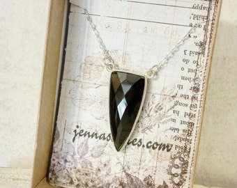 Black Onyx Dagger Necklace - Sterling Silver Chain Necklace - Semi Precious Gemstone - Onyx Necklace - Onyx Point - Onyx Amulet