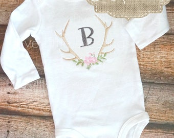Antler monogram - initial - 1st birthday - rustic birthday - hunting theme - baby shower gift - take home outfit - baby girl
