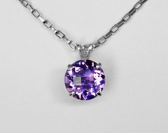 Amethyst Checkerboard Cut Pendant in Silver, 11 mm