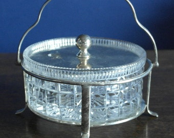 antique silver plate cutl glass and silver plate bon bon dish