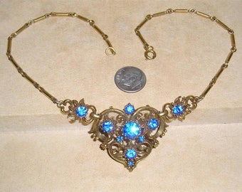 Signed Vintage Coro Blue Rhinestone Necklace 1940's Jewelry 10092