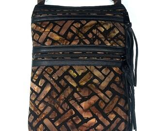 """Fabric Shoulder Purse, Batik Crossbody Bag, Phone eReader Case, Front Zippered Pocket, Adjustable Black Poly Strap, 9 1/2"""" x 7"""""""