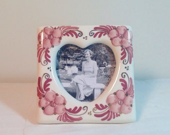 Delft Pottery Frame with Heart Shape Cut-Out Pink & Gold Handpainted Holland USA