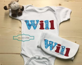 Personalized Baby Bodysuit and Burp Cloth Set, Personalized Baby Gift, Baby Shower Gift,Monogrammed Bodysuit,Going Home Outfit,Nautical Baby