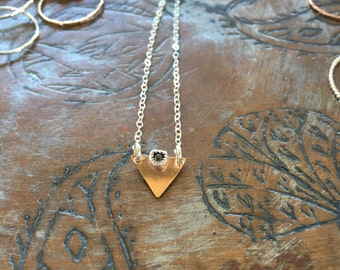 Triangle pyrite necklace, hand cut, bezel setting