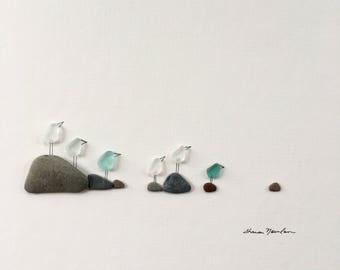 Pebble Art seaglass seabirds 8 by 10 PebbleArt by Sharon Nowlan choice of framed or unframed