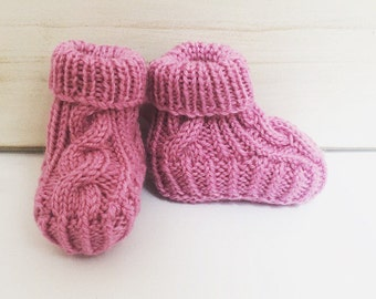 Hand knitted Cable Booties - Berry