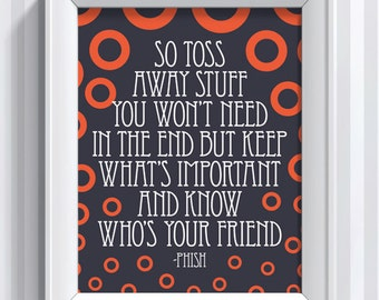 Phish Lyrics - Theme From the Bottom - 11x14 - poster print