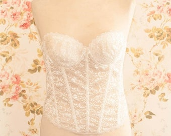 Vintage 1970s Cream Lace Strapless Bustier. Bra Size 36B Cup.