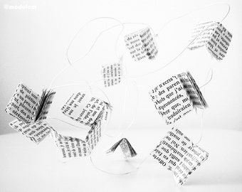 Newsprint Flutter - Black and White Contemporary Photography, flying paper, typography, French text, flowing movement, 8x10