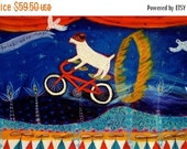 SALE 40% OFF SALE Jack Russel Terrier- Bike Trick Rider - limited edition medium giclee on canvas/dog art/ whimsical art/childrens decor