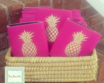 Pineapple Can Cooler * Gold Pineapple Can Cooler *  Southern * Bridesmaid Gift * Beach * Party Favor * Can Cozy *Can Cooler * Free Shipping