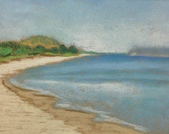 "Original Impressionist Pastel Painting Landscape 8x10 ""Beach at Sleeping Bear Sand Dunes"""
