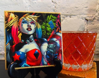 Handmade Comic Travertine Coaster - Harley Quinn